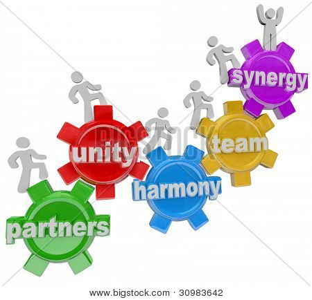 A group of people walking upward on connected gears with the words Partners; Unity; Harmony; and Synergy to symbolize the rise, achievement and success of many individuals working together in teamwork