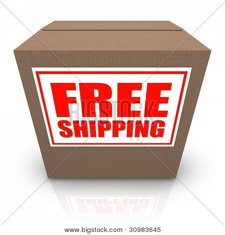 A brown cardboard box with a white sticker and red letters reading Free Shipping offering a special no cost shipment plan for your order of merchandise