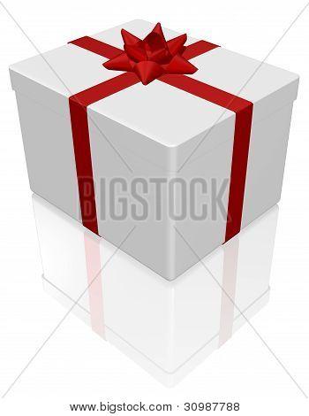 White gift box on white