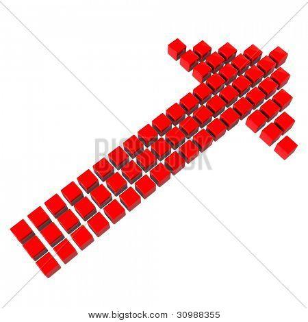 Flecha roja 3D hecho de muchos cubos sobre fondo blanco