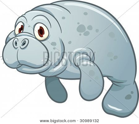 Cute cartoon manatee. Vector illustration with simple gradients. All in a single layer.