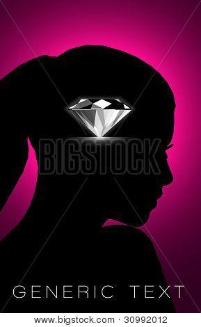 Vector Silhouette with Diamond
