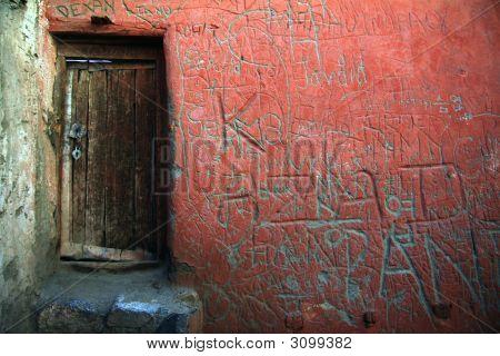 Woodden Door On Red Canvas