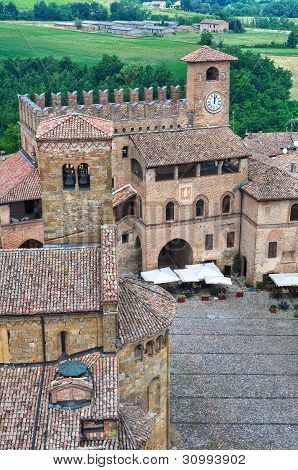 Panoramic view of Castell'arquato. Emilia Romagna. Italy.