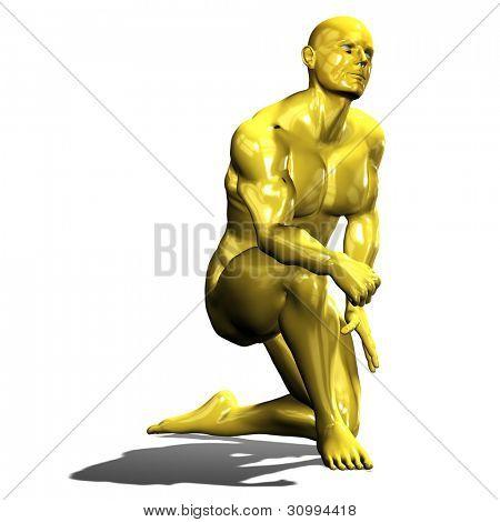 Gold Mann Heldenstatue in niederknien Pose. isoliert auf weiß