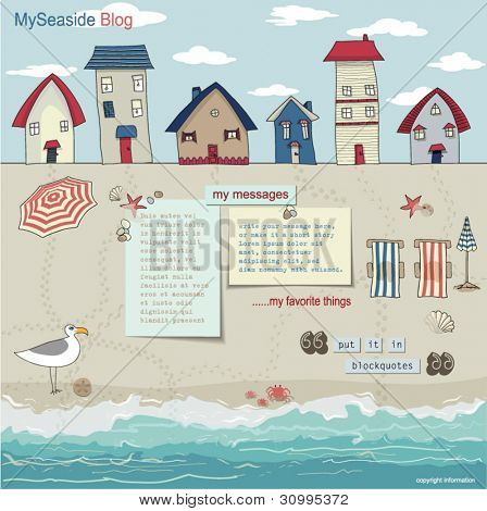 Bungalows and Cabanas on a sandy beach, right by the sea, with folding beach chairs, parasols and sea treasures spread around pages for the blog and web site layout, template