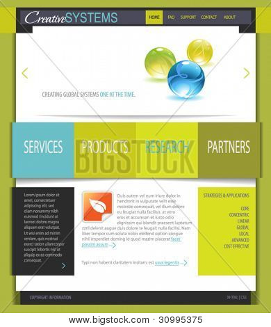 Business Web Site Template: Fresh White and Green Web Site Template, with shiny glass marbles and black, blue, gray and orange accents