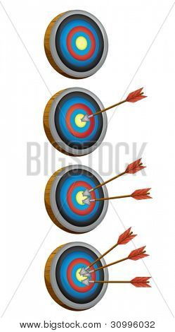 illustration of arrow target game on a whote baackground