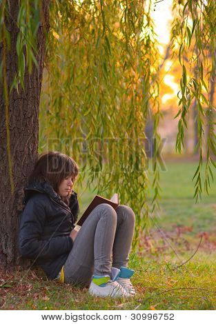Pretty teenage girl reads the book under the willow tree on sunny autumn day