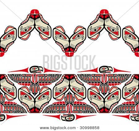 Haida style seamless patterns created with animal images. Vector illustration fit for tattoo.