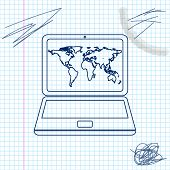 Laptop With World Map On Screen Line Sketch Icon Isolated On White Background. World Map Geography S poster