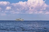 Pleasure Craft On The Fairway Of The River. River Navigation On The Volga River poster