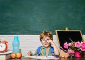 Elementary School Student Drawing At Workplace. Cute Child Boy Doing Homework. Schoolboy. Kid Enjoy  poster