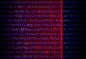 Encryption concept - red laser decrypting letters in middle of digital code