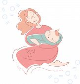 Young Mother Rocking Her Baby Son Wrapped In A Blue Blanket To Sleep In Her Arms With A Tender Smile poster