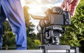 Making Video Using Automatic Camera Slider. Modern Videography Equipment. poster