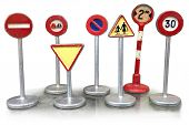 Warning Signs, Road Works Traffic Sign. Set Of Retro Toy Speed-limit And Stop Road Signs Isolated On poster