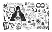 Witchcraft Set - Witch Or Enchantress And Mystical Items For Wizardry, Enchantment, Astrology And Cl poster