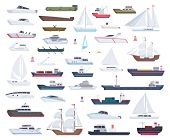 Ocean Ships. Yacht Sailing Boats And Travel Big And Little Vessel Vector Cartoon Collection. Illustr poster