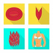 Vector Illustration Of Muscle And Cells Symbol. Collection Of Muscle And Anatomy Vector Icon For Sto poster