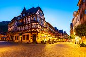 Bacharach Old Town At Night. Bacharach Is A Small Town In Rhine Valley In Rhineland-palatinate, Germ poster