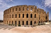Amphitheatre Of El Jem Tunisia 25 May 2012. A Listed World Heritage Site Is The Best Preserved And I poster