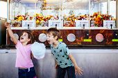 Photo Of A Brother And Sister Eating A Big Cotton Candy At An Amusement Park. poster