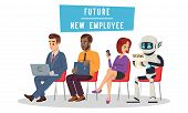Multiracial People And Robot Sitting In Queue And Waiting For Job Interview. Technological Revolutio poster