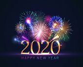 Happy New Year Greeting Card With 2020 Golden Numbers And Fireworks Series. Celebratory Template Wit poster