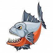 Illustration Of A Cartoon Angry Piranha Fish poster