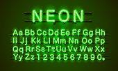Neon Font City. Neon Green Font. Lamp Green Font. Alphabet Font. poster