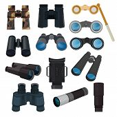 Binoculars Vector Optical Equipment Spyglass Optics Look-see Looking Far View Illustration Set Of Bi poster