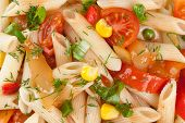 Pasta With Vegetables Closeup