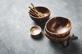 Coconut Shell Bowl , Bowl Made From Coconut Shell. Organic Tableware. poster