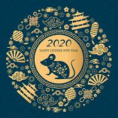 Happy Chinese New Year. The White Rat Is The Symbol Of 2020 Chinese Year Of The New Year. Round Gold poster