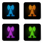 Glowing Neon Antenna Icon Isolated On White Background. Radio Antenna Wireless. Technology And Netwo poster