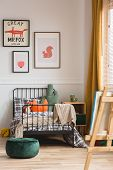 Vertical Capture Of Genderless Cozy Bedroom In Elegant Tenement House poster