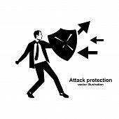 Attack Protection. Black Silhouette Businessman Hold Shield Defending From Attacks. Reflection Impac poster