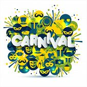 Bright Carnival And Sign Carnival Illustration On Multicolors Icons. Carnival, Spring, Text Of Paper poster