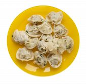 Dumplings On A Yellow  Plate Isolated On White Background .boiled Dumplings.meat Dumplings Top View  poster