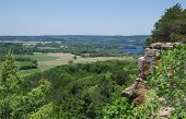 Wisconsin Scenic Overlook:  A Sweeping View Opens At The Top Of A Hiking Trail In Southern Wisconsin poster