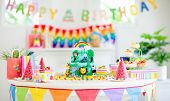 Kids Birthday Cake. Child Jungle Theme Party. poster