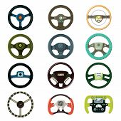 Steering Wheel Vector Car Driving Wheeling Control Device In Vehicle Automobile Illustration Transpo poster