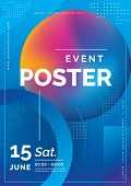 Futuristic Poster For Corporate Meeting, Online Courses, Master Class, Webinar, Business Event Annou poster