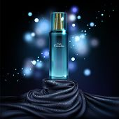 3d Realistic Mock Up Of Night Cosmetics, Luxury Concept With Bottle In Dark Blue Fabric, Cloth. Luxu poster