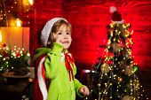 Best Wishes For You Your Family This Christmas. Merry Christmas And Happy New Year. Cute Boy Play Ne poster