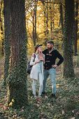 Romantic Couple. Hello Autumn. Young Couple With Autumnal Mood. Autumn Travels. Happy Couple On Autu poster