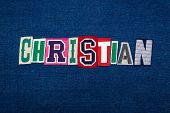 Christian Collage Of Word Text, Multi Colored Fabric On Blue Denim, Christianity Religion Diversity  poster