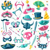 Carnival Party Inventory Set. Large Set Of Isolated Carnival Items On White Background In Illustrati poster