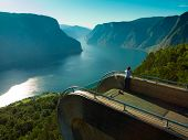 Tourist Woman Enjoying Fjord View Aurlandsfjord Landscape From Stegastein Viewing Point. Norway Scan poster